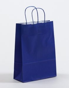 Papiertragetaschen mit gedrehter Papierkordel blau 23 x 10 x 32 cm, 200 Stück