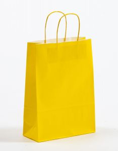 Papiertragetaschen mit gedrehter Papierkordel gelb 23 x 10 x 32 cm, 050 Stück
