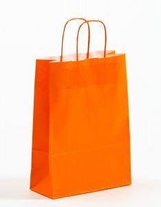 Papiertragetaschen mit gedrehter Papierkordel orange 23 x 10 x 32 cm, 100 Stück
