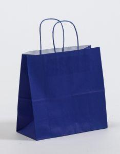 Papiertragetaschen mit gedrehter Papierkordel blau 25 x 11 x 24 cm, 200 Stück
