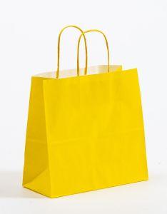 Papiertragetaschen mit gedrehter Papierkordel gelb 25 x 11 x 24 cm, 050 Stück