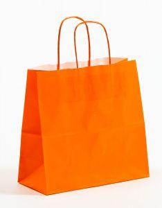 Papiertragetaschen mit gedrehter Papierkordel orange 25 x 11 x 24 cm, 050 Stück