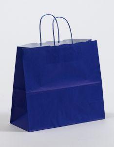 Papiertragetaschen mit gedrehter Papierkordel blau 32 x 13 x 28 cm, 050 Stück