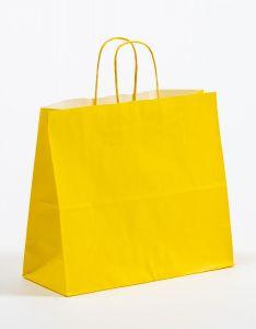 Papiertragetaschen mit gedrehter Papierkordel gelb 32 x 13 x 28 cm, 050 Stück