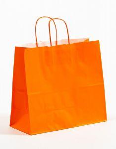 Papiertragetaschen mit gedrehter Papierkordel orange 32 x 13 x 28 cm, 025 Stück