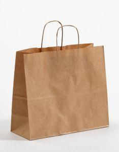 Papiertragetaschen mit gedrehter Papierkordel braun gerippt 32 x 13 x 28 cm, 100 Stück
