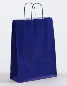 Papiertragetaschen mit gedrehter Papierkordel blau 32 x 13 x 42,5 cm, 100 Stück