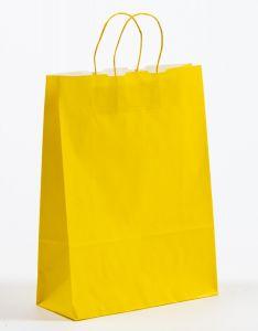 Papiertragetaschen mit gedrehter Papierkordel gelb 32 x 13 x 42,5 cm, 100 Stück