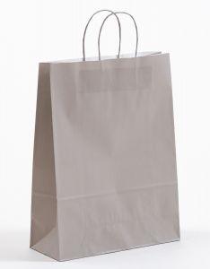 Papiertragetaschen mit gedrehter Papierkordel grau 32 x 13 x 42,5 cm, 250 Stück