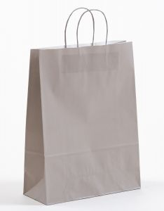 Papiertragetaschen mit gedrehter Papierkordel grau 32 x 13 x 42,5 cm, 025 Stück