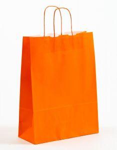 Papiertragetaschen mit gedrehter Papierkordel orange 32 x 13 x 42,5 cm, 100 Stück
