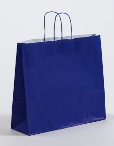 Papiertragetaschen mit gedrehter Papierkordel blau 42 x 13 x 37 cm, 100 Stück
