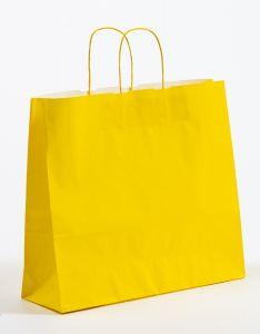 Papiertragetaschen mit gedrehter Papierkordel gelb 42 x 13 x 37 cm, 025 Stück