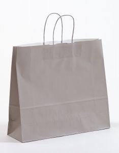 Papiertragetaschen mit gedrehter Papierkordel grau 42 x 12x 37 cm, 150 Stück