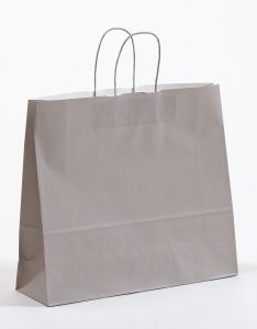 Papiertragetaschen mit gedrehter Papierkordel grau 42 x 12x 37 cm, 100 Stück