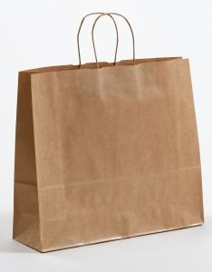 Papiertragetaschen mit gedrehter Papierkordel braun gerippt 42 x 13 x 37 cm, 150 Stück