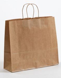 Papiertragetaschen mit gedrehter Papierkordel braun gerippt 42 x 13 x 37 cm, 100 Stück