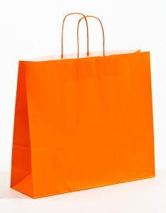 Papiertragetaschen mit gedrehter Papierkordel orange 42 x 13 x 37 cm, 100 Stück