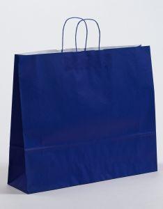 Papiertragetaschen mit gedrehter Papierkordel blau 54 x 14 x 45 cm, 025 Stück