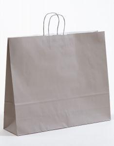 Papiertragetaschen mit gedrehter Papierkordel grau 54 x 14 x 45 cm, 100 Stück