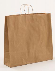 Papiertragetaschen mit gedrehter Papierkordel braun gerippt 54 x 14 x 50 cm, 100 Stück
