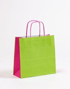 Papiertragetaschen mit gedrehter Papierkordel grün/pink 27 x 11 x 26 cm, 025 Stück