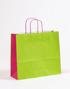 Papiertragetaschen mit gedrehter Papierkordel grün/pink 36 x 12 x 31 cm, 025 Stück
