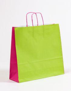 Papiertragetaschen mit gedrehter Papierkordel grün/pink 40 x 12 x 36 cm, 050 Stück