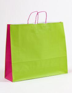 Papiertragetaschen mit gedrehter Papierkordel grün/pink 54 x 15 x 44 cm, 150 Stück