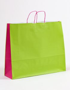 Papiertragetaschen mit gedrehter Papierkordel grün/pink 54 x 15 x 44 cm, 050 Stück
