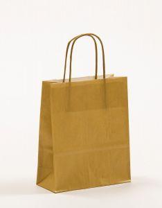 Papiertragetaschen mit gedrehter Papierkordel gold 18 x 8 x 22 cm, 050 Stück