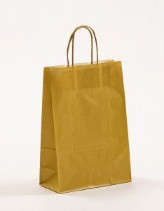 Papiertragetaschen mit gedrehter Papierkordel gold 22 x 10 x 31 cm, 100 Stück