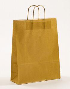 Papiertragetaschen mit gedrehter Papierkordel gold 32 x 12 x 41 cm, 050 Stück