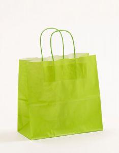 Papiertragetaschen mit gedrehter Papierkordel hellgrün 25 x 11 x 24 cm, 050 Stück