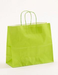Papiertragetaschen mit gedrehter Papierkordel hellgrün 32 x 13 x 28 cm, 025 Stück