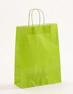 Papiertragetaschen mit gedrehter Papierkordel hellgrün 32 x 13 x 42.5 cm, 050 Stück