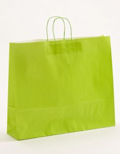 Papiertragetaschen mit gedrehter Papierkordel hellgrün 54 x 14 x 45 cm, 100 Stück