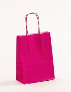 Papiertragetaschen mit gedrehter Papierkordel pink-magenta 15 x 8 x 20 cm, 025 Stück