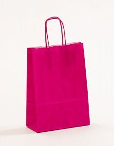 Papiertragetaschen mit gedrehter Papierkordel pink-magenta 18 x 8 x 25 cm, 025 Stück