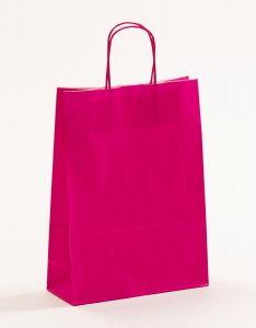 Papiertragetaschen mit gedrehter Papierkordel pink-magenta 23 x 10 x 32 cm, 025 Stück