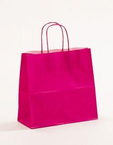 Papiertragetaschen mit gedrehter Papierkordel pink-magenta 25 x 11 x 24 cm, 100 Stück