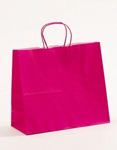 Papiertragetaschen mit gedrehter Papierkordel pink-magenta 32 x 13 x 28 cm, 050 Stück
