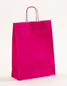 Papiertragetaschen mit gedrehter Papierkordel pink-magenta 32 x 13 x 42,5 cm, 050 Stück