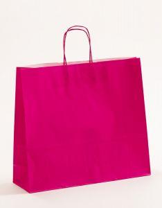 Papiertragetaschen mit gedrehter Papierkordel pink-magenta 42 x 13 x 37 cm, 100 Stück