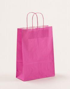 Papiertragetaschen mit gedrehter Papierkordel pink 23 x 10 x 32 cm, 250 Stück