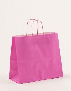 Papiertragetaschen mit gedrehter Papierkordel pink 32 x 13 x 28 cm, 250 Stück