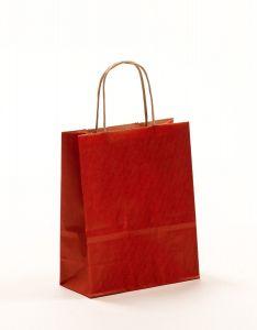 Papiertragetaschen mit gedrehter Papierkordel rot 18 x 8 x 22 cm, 025 Stück