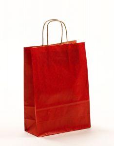 Papiertragetaschen mit gedrehter Papierkordel rot 22 x 10 x 31 cm, 025 Stück
