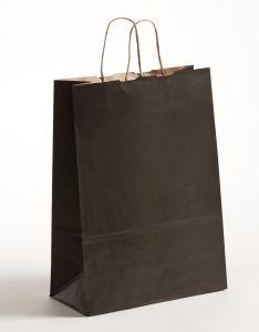 Papiertragetaschen mit gedrehter Papierkordel schwarz 32 x 12 x 41 cm, 025 Stück