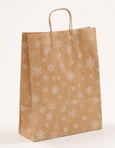Papiertragetaschen mit gedrehter Papierkordel Schneekristall 32 x 12 x 41 cm, 100 Stück